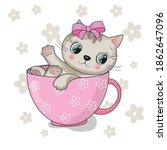 Cute Cartoon Cat In Pink Mug.