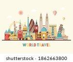 horizontal world travel skyline ...   Shutterstock .eps vector #1862663800