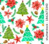 seamless pattern of green... | Shutterstock . vector #1862673340