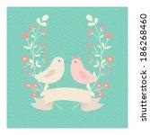 cute wedding invitation or love'... | Shutterstock .eps vector #186268460