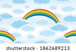 clouds and rainbows. endless...   Shutterstock . vector #1862689213
