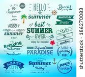 vintage typography summer... | Shutterstock .eps vector #186270083