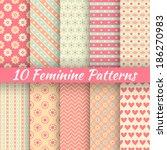 10 Feminine Vector Seamless...