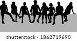 black silhouettes of a people... | Shutterstock . vector #1862719690