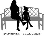 black silhouettes of a family... | Shutterstock . vector #1862722036
