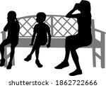 black silhouettes of a family... | Shutterstock . vector #1862722666
