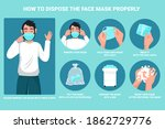 how to dispose the face mask... | Shutterstock .eps vector #1862729776