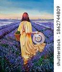 Woman In Lavender Field Oli On...