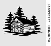 Rustic Wooden Hunting Log Cabin