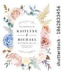 oval floral label beige frame...   Shutterstock .eps vector #1862833456