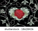 background with rose in heart... | Shutterstock .eps vector #18628426