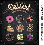 bakery menu. sweet dessert set  ... | Shutterstock .eps vector #186285194