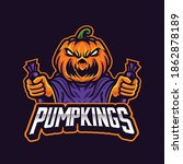 angry pumpkin holding candy... | Shutterstock .eps vector #1862878189