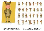 set of kids girl wearing... | Shutterstock .eps vector #1862895550