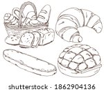 bread collection  croissant ... | Shutterstock .eps vector #1862904136