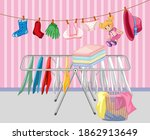 drying clothes in the house... | Shutterstock .eps vector #1862913649