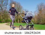 young mother jogging with a... | Shutterstock . vector #186292634