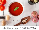 Top Angle Of Tomato Soup With...