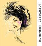 girl in art vector illustration.... | Shutterstock .eps vector #1863026509