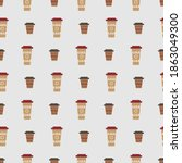 seamless pattern with coffee... | Shutterstock .eps vector #1863049300
