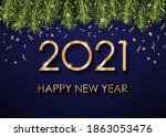 2021 happy new year gold text... | Shutterstock .eps vector #1863053476