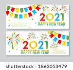 2021 happy new year minimalist... | Shutterstock .eps vector #1863053479