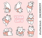 yoga cat in different pose...   Shutterstock .eps vector #1863080059