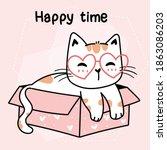 cute cat wear heart glasses sit ... | Shutterstock .eps vector #1863086203