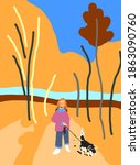 woman walking her dog in autumn ... | Shutterstock . vector #1863090760