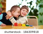 happy kids with disabilities in ... | Shutterstock . vector #186309818
