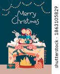 Vector Greeting Card  Merry...