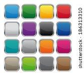 metallic square buttons. vector ...   Shutterstock . vector #186313310