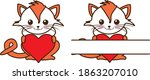 cat with heart and split... | Shutterstock .eps vector #1863207010