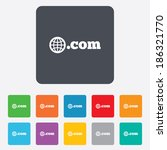 Domain COM sign icon. Top-level internet domain symbol with globe. Rounded squares 11 buttons. Vector