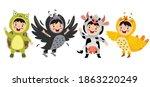funny children waering animal... | Shutterstock .eps vector #1863220249