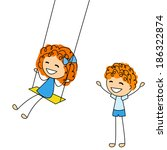 cute little kids with swing | Shutterstock .eps vector #186322874
