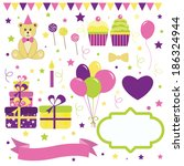 set of birthday party elements  | Shutterstock .eps vector #186324944