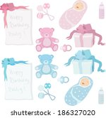 birthday baby with baby's... | Shutterstock .eps vector #186327020