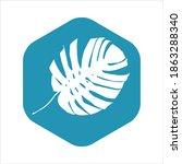 monstera list icon. white leaf... | Shutterstock .eps vector #1863288340