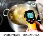 Small photo of measuring temperature of fish soup during cooking in stockpot by infrared thermometer on ceramic stove at home kitchen