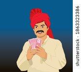 illustration of happy indian... | Shutterstock .eps vector #1863323386