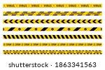 warning quarantine tape set.... | Shutterstock .eps vector #1863341563