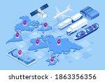 isometric global logistics... | Shutterstock .eps vector #1863356356