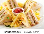 club sandwich with cheese ... | Shutterstock . vector #186337244