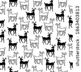 seamless pattern of black and... | Shutterstock .eps vector #1863403813