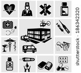 medical icons.vector set of... | Shutterstock .eps vector #186342320
