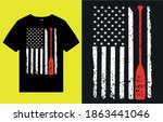 american flag with paddle t... | Shutterstock .eps vector #1863441046