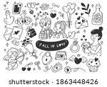 falling in love couples doodle... | Shutterstock .eps vector #1863448426