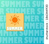 text summer and drawn sun in... | Shutterstock .eps vector #186344930