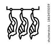 cut animal carcasses hang in... | Shutterstock .eps vector #1863455059